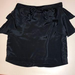 H&M short silky black ruffle skirt